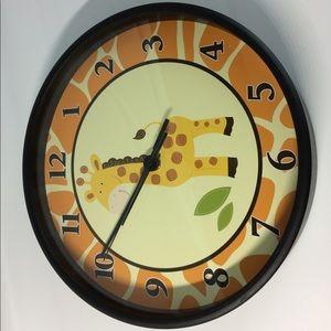 Giraffe Nursery Wall Clock Black Frame